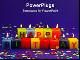 PowerPoint Template - Colorful burning happy birthday candles on lilac background