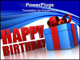 PowerPoint Template - 3d illustration of happy birthday sign and gift box