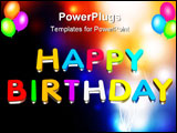 PowerPoint Template - An illustration colorful 3d Happy birthday text
