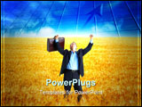 PowerPoint Template - Free successful businessman in the field under blue sky