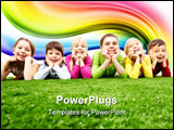 PowerPoint Template - Image of happy boys and girls lying on a green grass