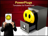 PowerPoint Template - d illustration of a large yellow smiley face protruding out of an open drawer of a gray file cabine