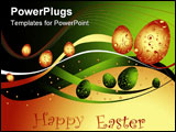 PowerPoint Template - Happy Easter background with eggs and lines