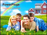 PowerPoint Template - Happy family. Father mother and sons on the green grass