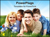 PowerPoint Template - Happy family. Father mother and sons in the park