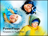 PowerPoint Template - young parents and their son wearing warm winter clothes lie on the snow