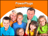 PowerPoint Template - A happy family huddles close to each other posing for a family portrait.