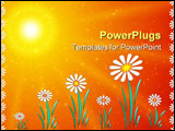 PowerPoint Template - Abstraction bright floral picture with sun and flowers