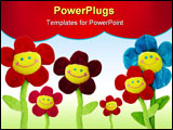 PowerPoint Template - group of smiling flowers on white background