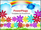 PowerPoint Template - kids and planet; joyful illustration with planet earth happy children and colorful flowers