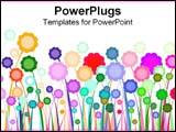 PowerPoint Template - Graphic flowers colorfully arranged over white.