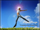 PowerPoint Template - Jumping girl on the green meadow .