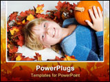 PowerPoint Template - happy girl with pumpkin on colorful leaves