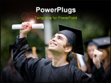 PowerPoint Template - happy graduation student full of success outdoors