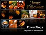 PowerPoint Template - Beautiful halloween collage made from nine photographs