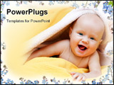 PowerPoint Template - Happy seven month baby girl playing with towel