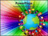 PowerPoint Template - Happy kids of different nationalities play together around the world.