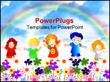 PowerPoint Template - kids playing; group of happy children; colorful design