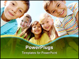 PowerPoint Template - Portrait of happy kids outdoor looking at camera