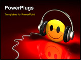 PowerPoint Template - d illustration of a bright yellow smiley face wearing a pair of simple headphones on a dark red ref