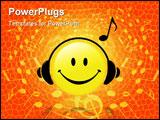 PowerPoint Template -  happy Smiley Face button wears Headphones and a Musical Note symbol shows he is listening to music