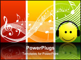 PowerPoint Template - smiley music with earphone smiling and listen music