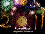 PowerPoint Template - elebration sparklers writing 2011 against black background, zero replaced by circular pink firework