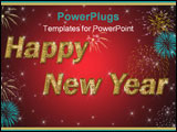 PowerPoint Template - happy new year golden text on red background with stars