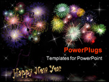 PowerPoint Template - Illustration for New Years Eve celebration with sparkling lights and fireworks