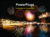 PowerPoint Template - Water reflecting night fireworks in seashore holiday resort festive