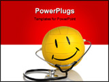 PowerPoint Template - Happy face ball with stethoscope on white
