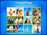 PowerPoint Template - Happy healthy people in park. Sport and recreation