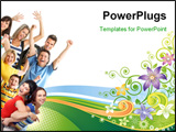 PowerPoint Template - Young happy people. Isolated over white background