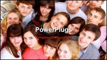 PowerPoint Template - Top view portrait of happy men and women standing together and smiling
