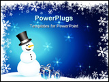 PowerPoint Template - Happy snowman with gifts on a snowy background