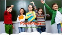 PowerPoint Template - Portrait of five pupils having fun in classroom