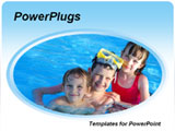 PowerPoint Template - hree kids in the pool posing together with their snorkel equipment and floats will be a good templa