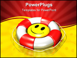 PowerPoint Template - d illustration of a large yellow smiley face floating at the center of a large red and white lifesa