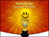PowerPoint Template - Gold trophy with black bottom holding a happy face ball on a blue background