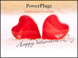 PowerPoint Template - macro two red hearts on yellow towel