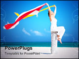 PowerPoint Template - happy woman with colorful sarongs on the beach