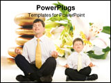 PowerPoint Template - Photo of father and son sitting in pose of lotus with their eyes closed and meditating