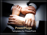 PowerPoint Template - Isolated on white four crossed human hands in business wear
