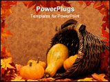 PowerPoint Template - Fall leaves with pumpkins and gourds in basket on brown background fall harvest frame