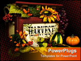 PowerPoint Template - Old wooden box overflowing with autumn flowers, foliage,a and fruit.