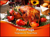 PowerPoint Template - Delicious roasted turkey with savory vegetable side dishes in a fall theme