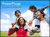 PowerPoint Template - happy family having fun in front of their house