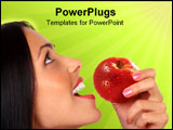 PowerPoint Template - Beautiful young woman eating the red apple. Over green background