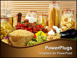 PowerPoint Template -  display of healthy foods including various vegetables jars of pasta rice seeds onions garlic olive