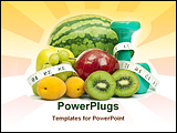 PowerPoint Template - Nutritious fruits pictured with measuring tape and weights